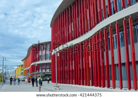 Zaragoza, Spain - September 15, 2015: Modern building wall. Architectural texture background. Concrete and glass house. Detail of expo pavillion in city Zaragoza, Spain.