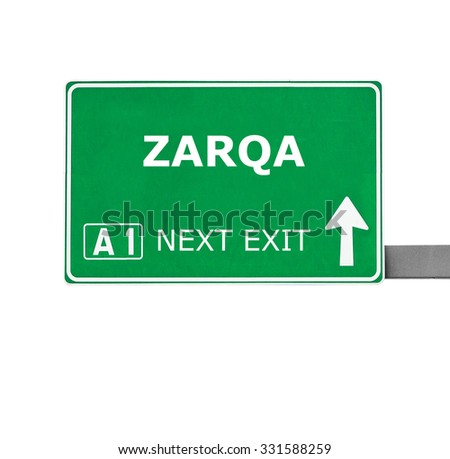 ZARQA road sign isolated on white