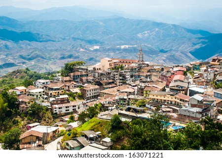 "Zaruma - Town in the Andes, Ecuador. Located in the southern province of El Oro (meaning ""the gold"") in the western range of the Andes, Zaruma is a lovely hilltop town with steep twisted streets - stock photo"