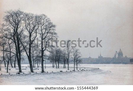 Zayachy Island in Saint Petersburg during winter time. - stock photo