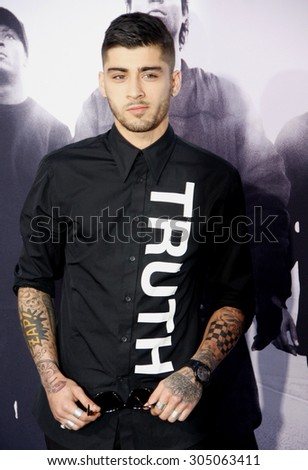 Zayn Malik at the Los Angeles premiere of 'Straight Outta Compton' held at the Microsoft Theatre in Los Angeles, USA on August 10, 2015.  - stock photo