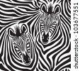 Zebra Couple repeating pattern. - stock photo