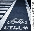zebra crossing and bicycle sign on the street in japan. - stock photo
