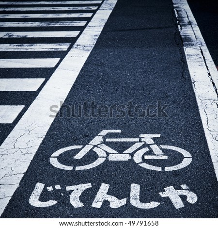 zebra crossing and bicycle sign on the street in japan.