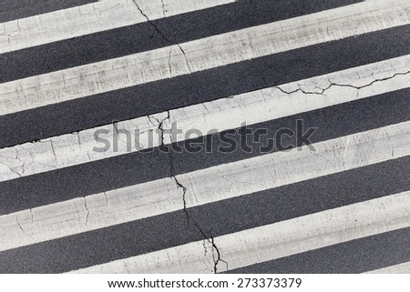 Zebra crossing by top view - stock photo