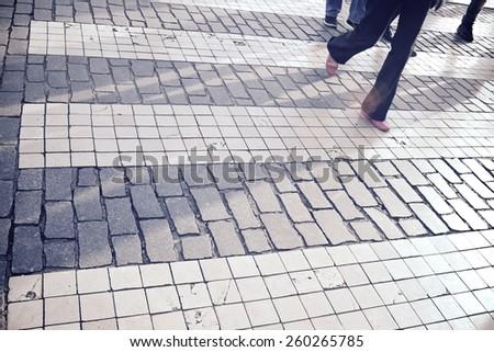 Zebra crossing in Lisbon, Portugal. - stock photo