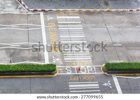 zebra crossing, on urban asphalt road for passenger or people and transportation, top view - stock photo