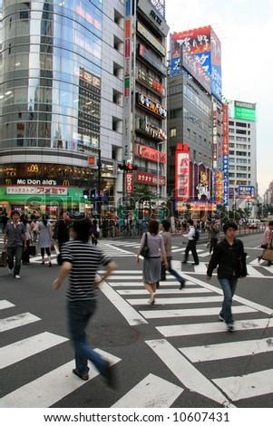Zebra Crossing - Shinjuku, Tokyo, Japan - stock photo