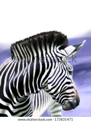 Zebra horse, digital image processing from photo. - stock photo