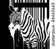 zebra silhouette with smudges barcode - stock photo