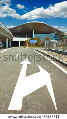 zebra symbol way on the street with blue sky - stock photo