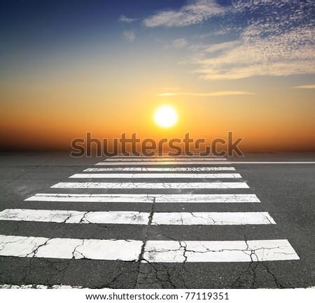 zebra traffic to the sun - stock photo