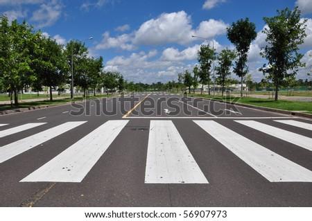 zebra traffic walk way with blue sky - stock photo