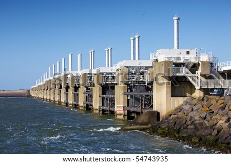 Zeeland´s delta project bridge - stock photo