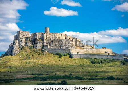 ZEHRA, SLOVAKIA - AUGUST 20: Panoramic image of Spis Castle on August 20, 2015, Zehra, Slovakia. The ruins of Spis castle in eastern Slovakia form one of the largest castle sites in Central Europe.