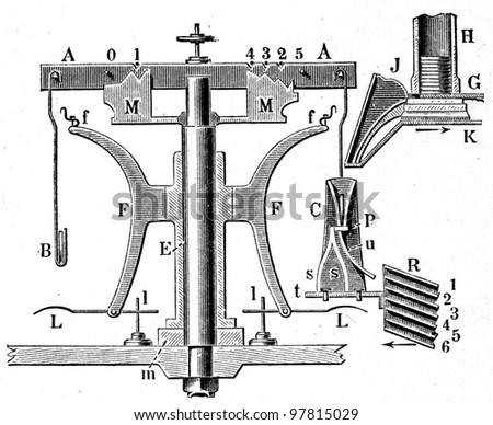 """Zeiss Scales - an illustration for article """"Equipment for the production of coins"""" of the encyclopedia publishers Education, St. Petersburg, Russian Empire, 1896 - stock photo"""