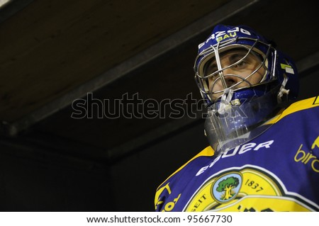 ZELL AM SEE; AUSTRIA - SEPT 24: Austrian National League. The goaltender of EK Zell am See is ready for the game. Game EK Zell am See vs EHC Lustenau (Result 1-8) on September 24, 2011 in Zell am See. - stock photo