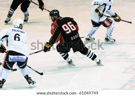 ZELL AM SEE, AUSTRIA - SEPTEMBER 3: Red Bulls Salute Tournament. Canadien forward Christian Dub? (Bern). Game Jokerit Helsinki vs. SC Bern (Result 0-2) on September 3, 2010 in Zell am See - stock photo