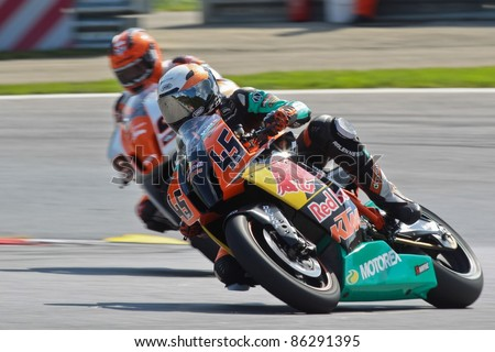 ZELTWEG, AUSTRIA - AUGUST 20:Martin Bauer (#45, Austria) competes in the IDM Superbike cup on August 20, 2011 in Zeltweg, Austria.