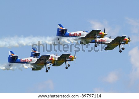 ZELTWEG, AUSTRIA - JULY 01:Acrobatic group Flying Bulls at the airpower11 airshow on July 01, 2011 in Zeltweg, Austria