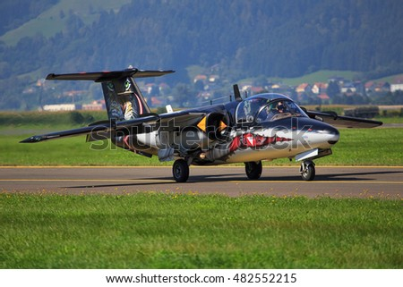 ZELTWEG, STYRIA, AUSTRIA - SEPTEMBER 02: Austrain Saab 105 at  Airpower  in Zeltweg, Austria