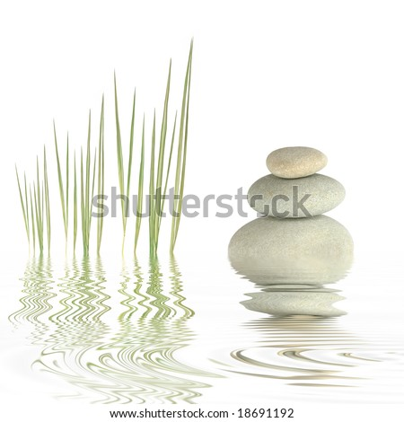 Zen abstract of grey spa stones and bamboo grass with reflection in  rippled water, over white background. - stock photo