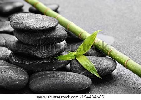 zen basalt stones on the black  - stock photo
