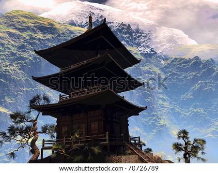 Zen Buddhist temple - stock photo