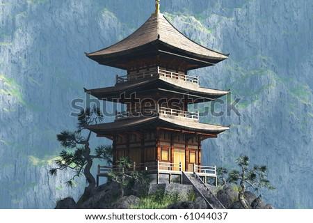 Zen Buddhist temple  - entrance - stock photo