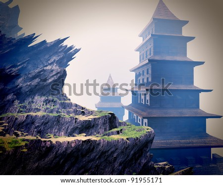 Zen buddhist temples in the mountains - stock photo