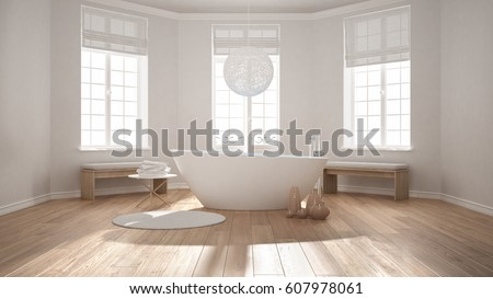 Zen Classic Spa Bathroom With Bathtub Minimalist Scandinavian Interior Design 3d Illustration