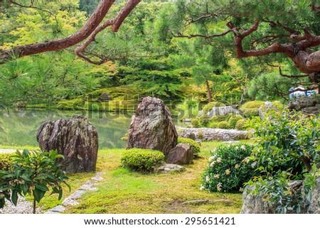 Zen Garden at Ginkakuji Temple in Kyoto, Japan - stock photo