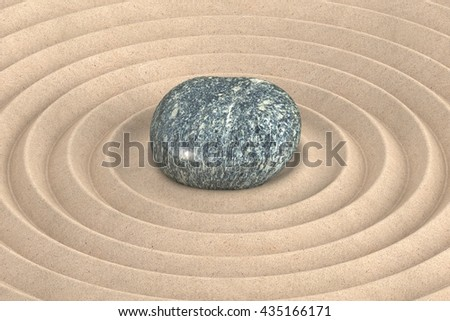 Zen garden concept with a wave in the sand, 3D rendering