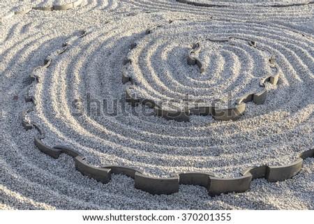 Zen garden in Japanese temple - stock photo