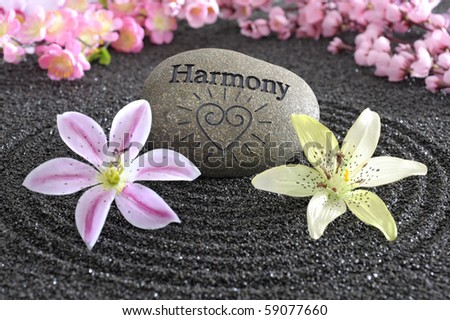zen garden of harmony in black sand - stock photo