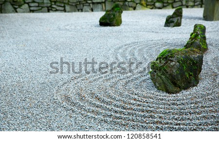 Zen Garden on Dark day with moss covered rocks