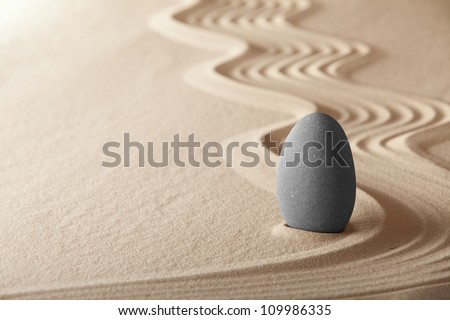 zen garden simplicity and harmony form a background for meditation and relaxation, for balance and health - stock photo