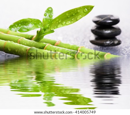 Zen garden with mirroring and reflection in water - stock photo
