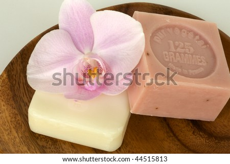 Zen-like scene with flower - stock photo