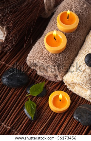 Zen like SPA with candles background - stock photo