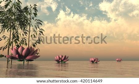 Zen lily flowers - 3D render - stock photo