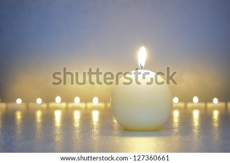 zen meditation with calm and candles - stock photo