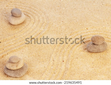 Zen mindset concept on yellow sand background