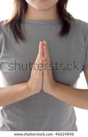 Zen of woman closeup gesture on white background. - stock photo