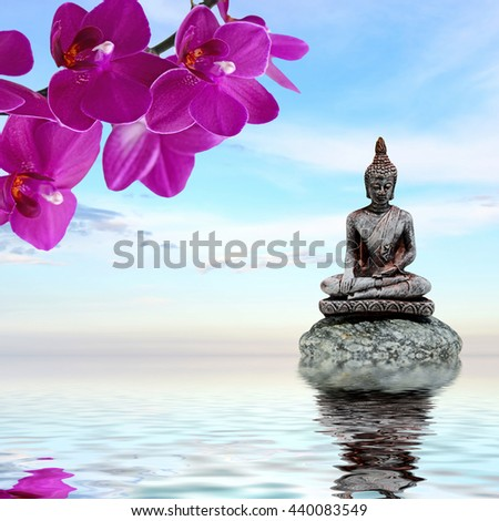 Zen or Feng-Shui background-Zen stone,orchid flowers and Buddha reflected in water - stock photo