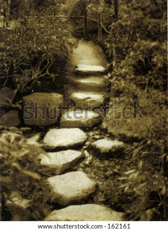Zen path with butterfly. Photo based mix medium image. - stock photo