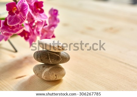 Zen pebbles balance. Spa and healthcare concept. With copy space - stock photo