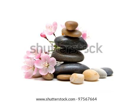 Zen / spa stones with flowers - stock photo