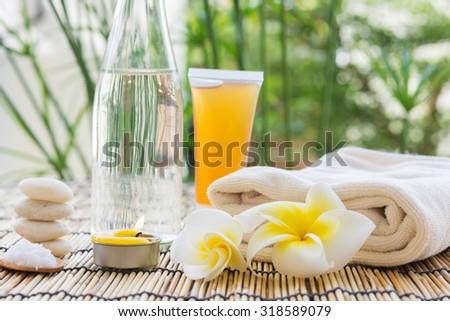 zen Spa treatment on nature a background - stock photo
