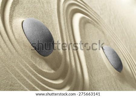 Zen stone and sand garden - stock photo